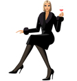 elegant woman with glass of wine vector image