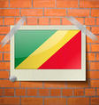 Flags Congo Republic scotch taped to a red brick vector image