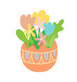 flat pastel flowers in colored easter egg vector image vector image