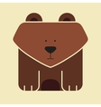 Flat square icon of a cute bear vector image