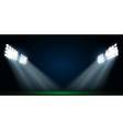 Four spotlights on a football field vector image