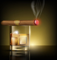 glass of whiskey with ice cubes and cigar vector image vector image