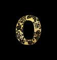golden ornamental alphabet letter o font vector image
