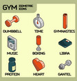 gym color outline isometric icons vector image vector image