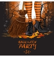 Halloween party poster with witch legs in boots