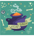 halloween witches brew in a cauldron vector image vector image