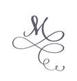 hand drawn calligraphic floral m monogram vector image vector image