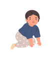 happy bacrawling little child moving on knees vector image vector image