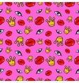 Lips Eyes and Crowns Seamless Fashion Pattern vector image
