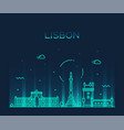 lisbon city skyline portugal linear style vector image