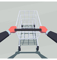 Male hands pushing empty shopping cart vector image
