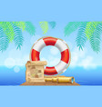 marine inventory on tropical background lifebuoy vector image
