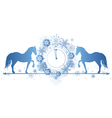New Year border with horses and clock vector image vector image