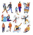 people during winter holidays outdoors activities vector image vector image