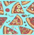 pizza slice seamless pattern vector image vector image