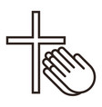 praying hands and cross prayer icon vector image vector image