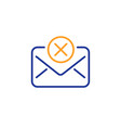 reject mail line icon delete message sign vector image vector image