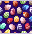 seamless happy easter pattern with realistic eggs vector image