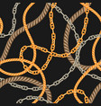 seamless pattern with old chains and ropes vector image