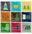 set of flat icons in shading style parks vector image