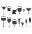 set of wineglass and glass different shapes vector image