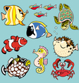 set with cartoon fishes vector image vector image