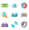 setting icons set cartoon style vector image vector image