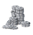 silver coins stacks silver finance icons vector image vector image