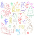 sketchy hand drawn doodle cartoon set vector image