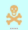 skull and bones set it is color icon vector image vector image