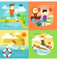 Surfing Swimming Morning Run and Bodybuilding vector image