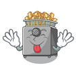 tongue out deep fryer machine isolated on mascot vector image vector image
