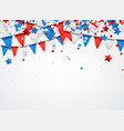 white background with flags and stars vector image vector image