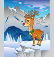 winter landscape with reindeer 1 vector image