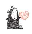 woolly sheep sitting and heart vector image vector image