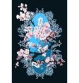 Card with blossom sakura vector image