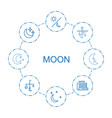 8 moon icons vector image vector image