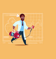 african american doctor running with defibrillator vector image vector image