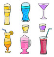 art drink set various doodles vector image vector image