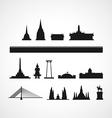 Bangkok landmark silhouettes vector image vector image