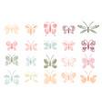 beautiful tropical butterflies set vector image