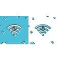 black wifi locked sign icon isolated on blue and vector image vector image