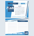 calendar planner for july 2019 a fish vector image vector image