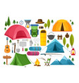 camping equipment symbols vector image