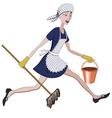 Charwoman running with a bucket and mop vector image