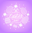 cute happy easter day card with white eggs on vector image vector image