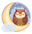 cute watercolor owl sleeping on moon vector image