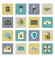 Cyber defense flat icons set with shadows vector image vector image