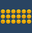 different coins of crypto currency virtual vector image