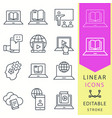 e-learning line icons set black vector image